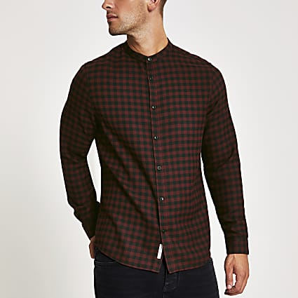 Red check long sleeve grandad collar shirt