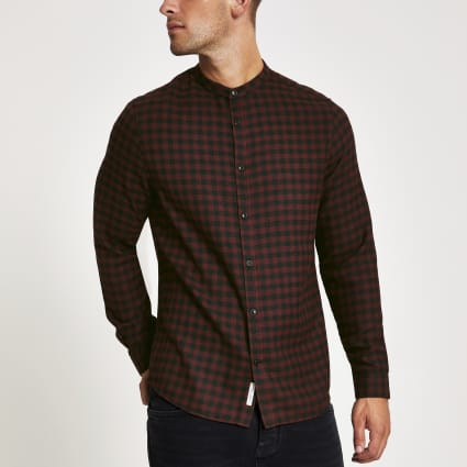 Red check slim fit grandad collar shirt