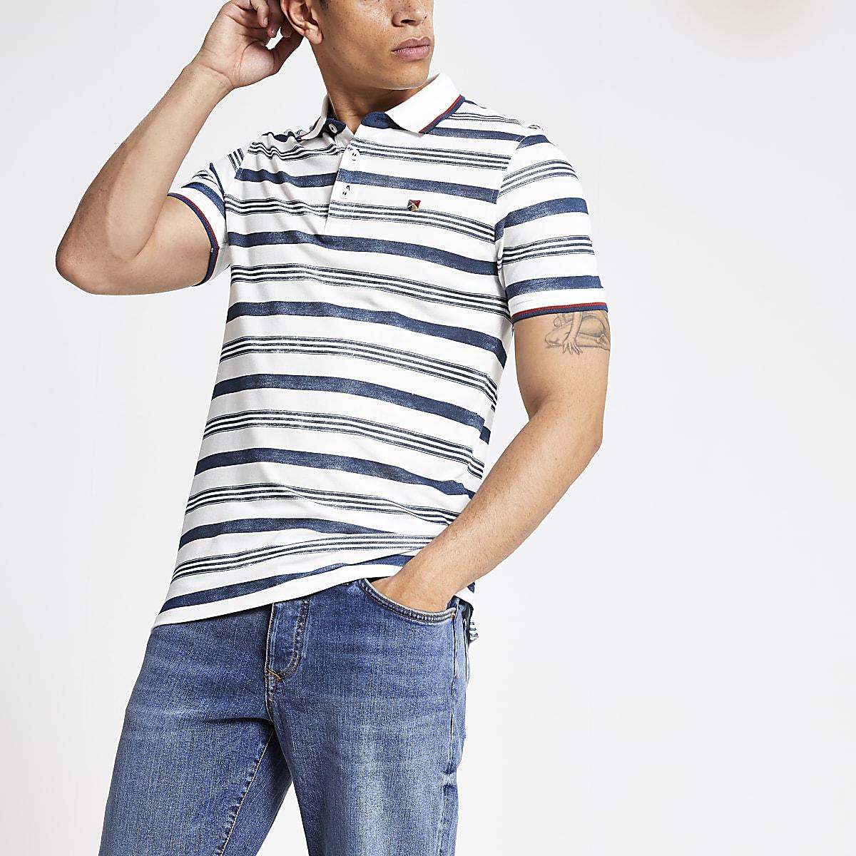 Jack and Jones blue stripe polo shirt