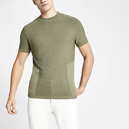 Khaki slim fit blocked side T-shirt
