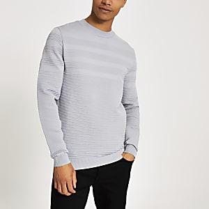 Grijze geribbelde slim-fit pullover met lange mouwen