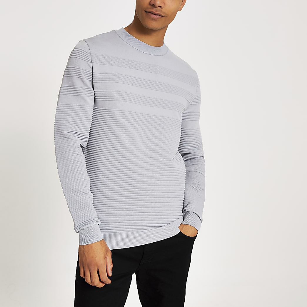 Grey slim fit ribbed long sleeve jumper