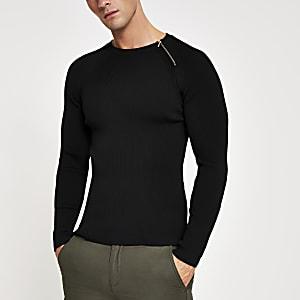 Schwarzer Muscle Fit Pullover mit Reißverschluss am Hals