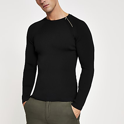 Black zip neck muscle fit ribbed jumper