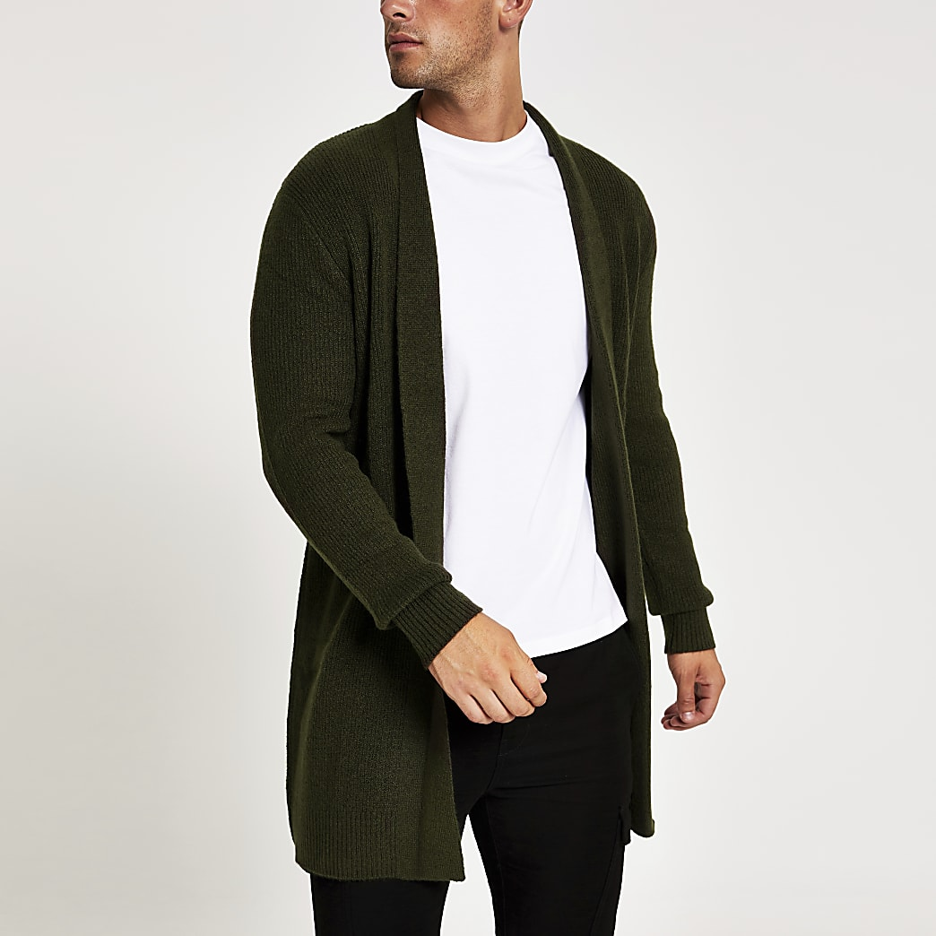 Green long sleeve foldback collar cardigan