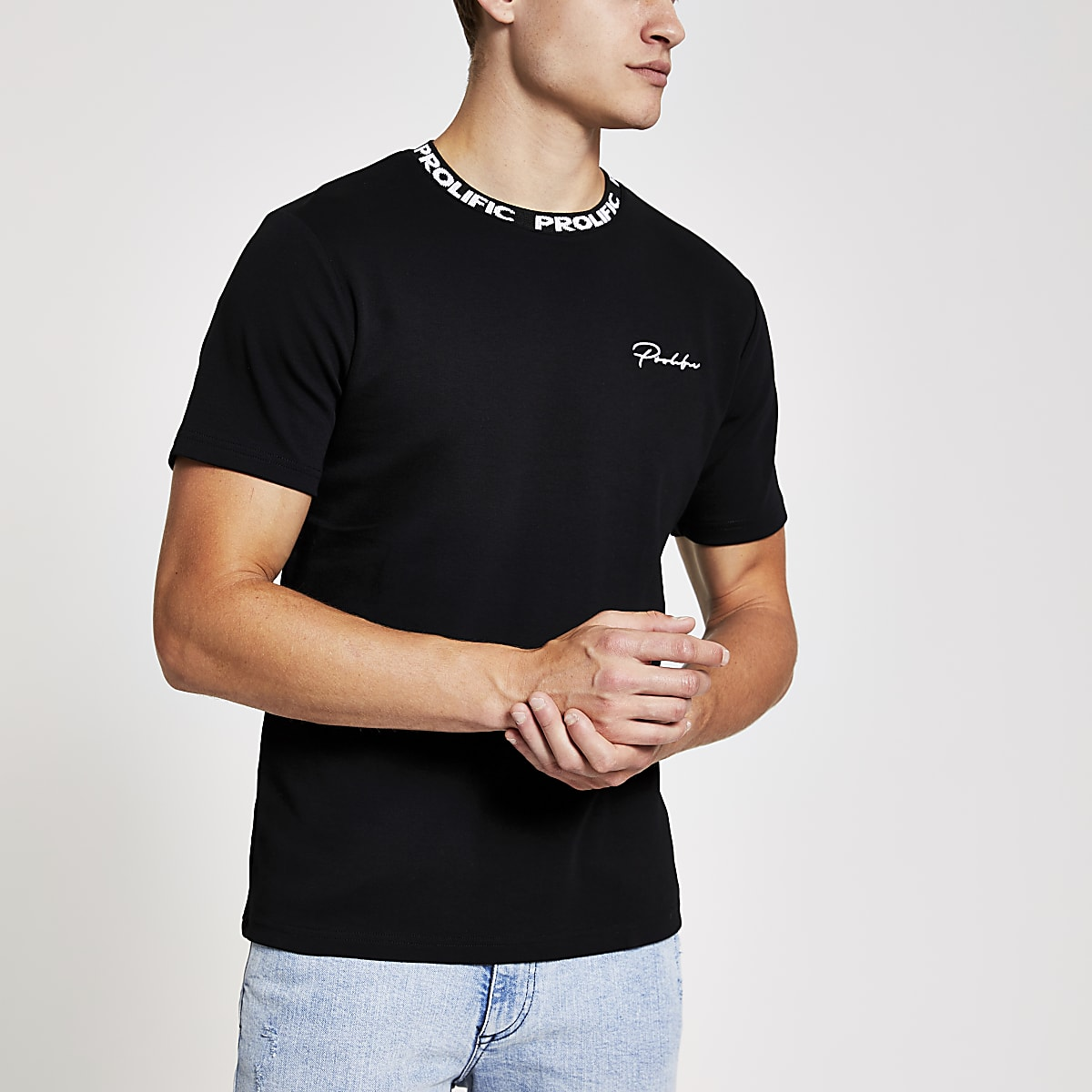 Black Prolific chest print slim fit T-shirt