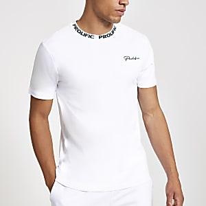 T-shirt slim blanc à imprimé «Prolific» sur la poitrine