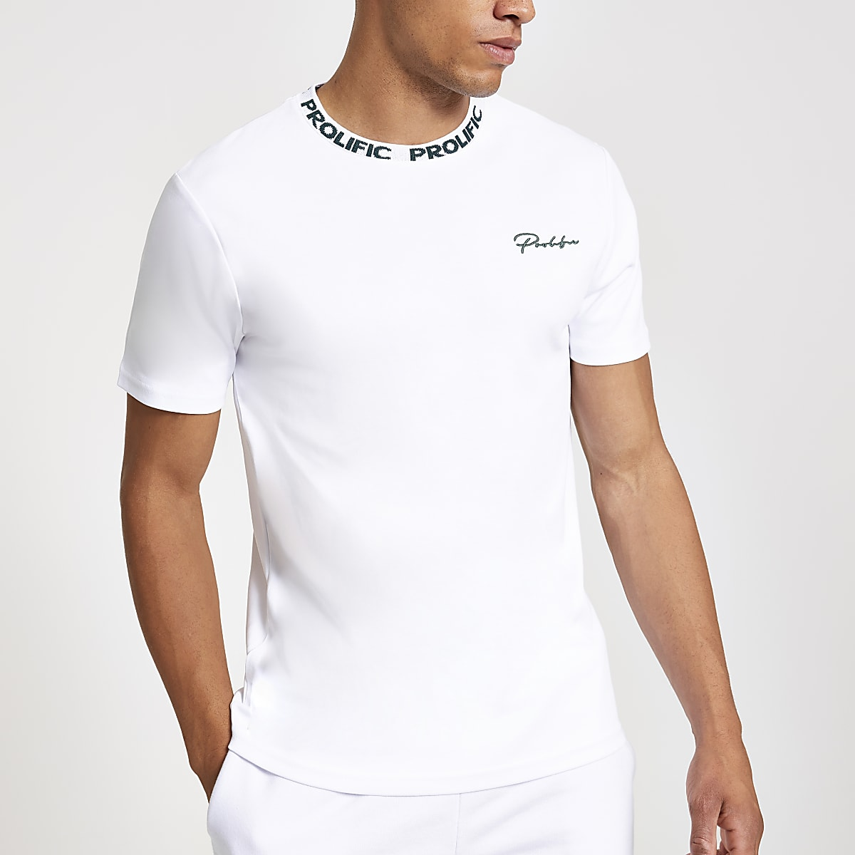 White Prolific chest print slim fit T-shirt