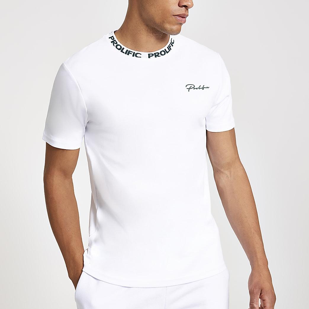 White Prolific chest print slim fit T-shirt