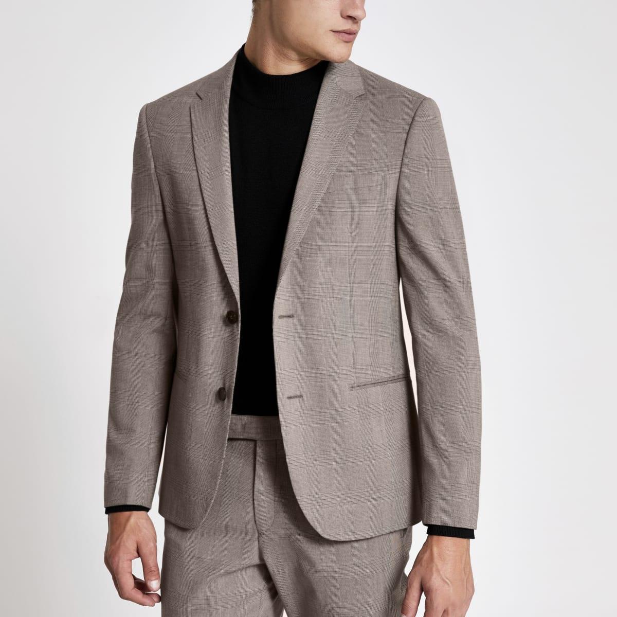 Veste de costume skinny stretch écru à carreaux