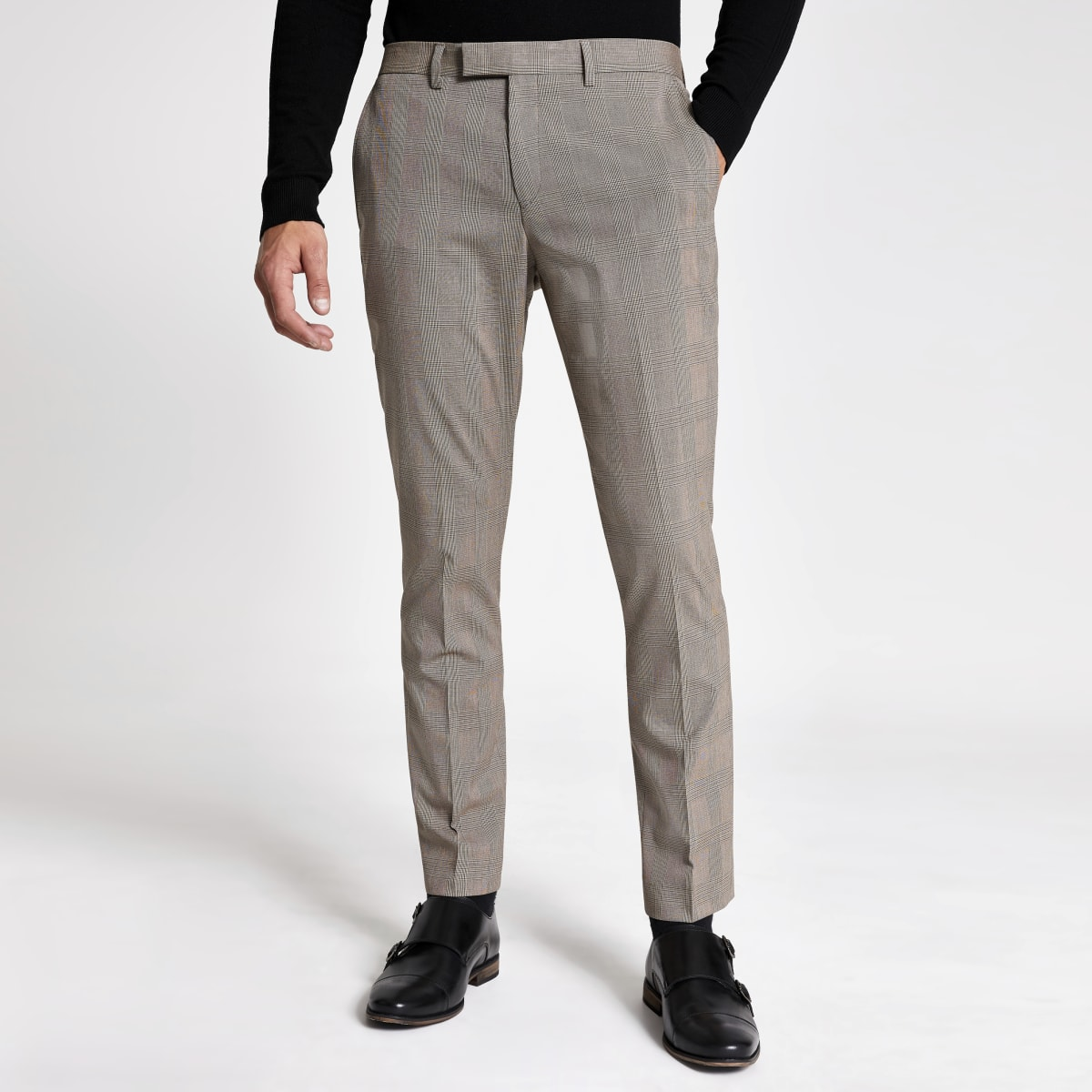 Pantalon de costume skinny stretch écru à carreaux