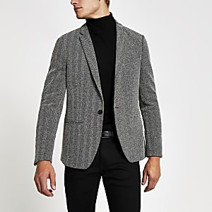 Grijze skinny-fit blazer met textuur