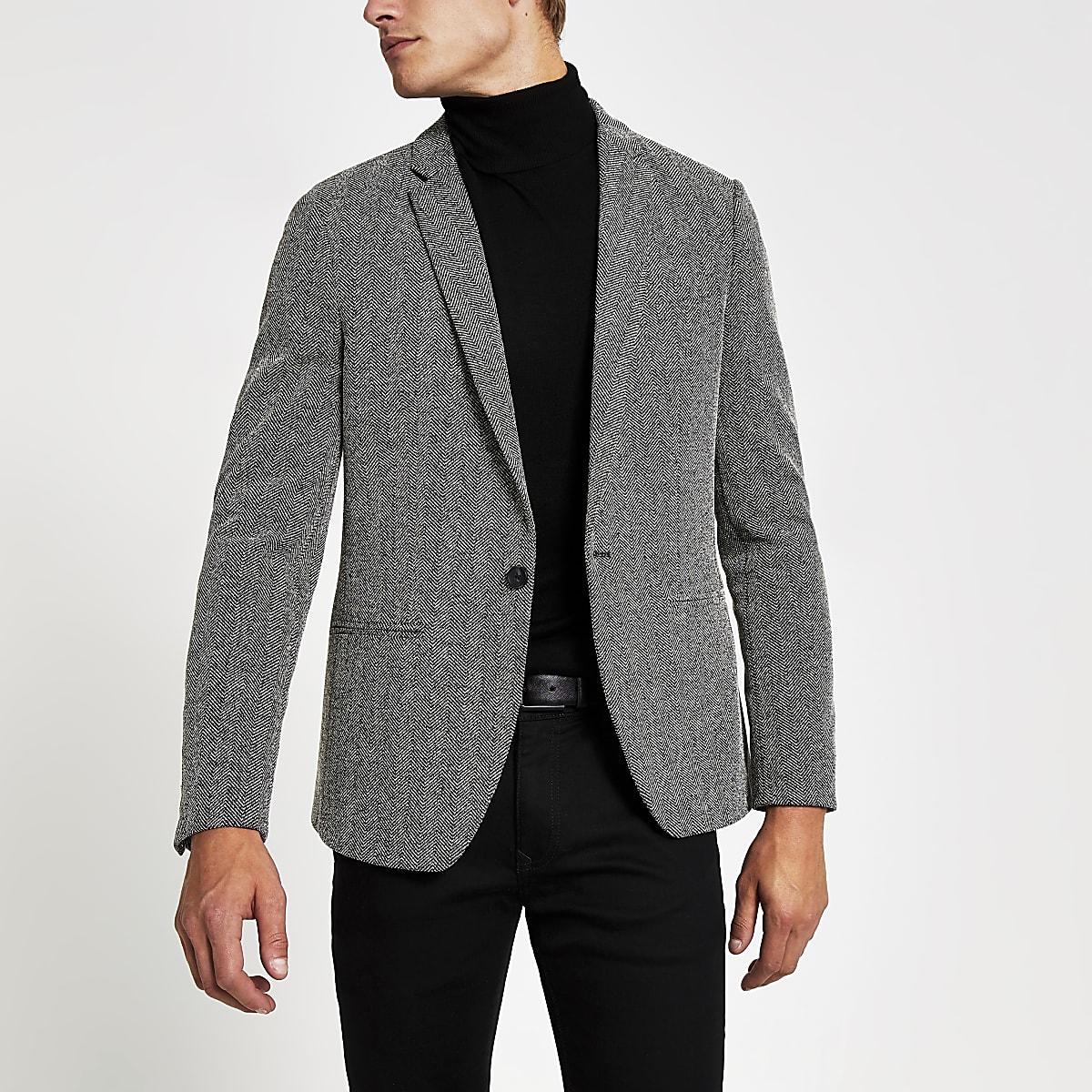 Grey textured skinny fit blazer