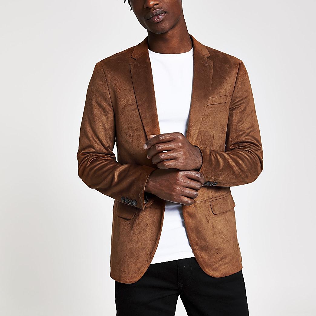 Bruine skinny-fit blazer van imitatiesuède