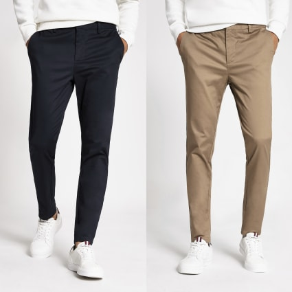 Navy skinny Sid chino trousers 2 pack