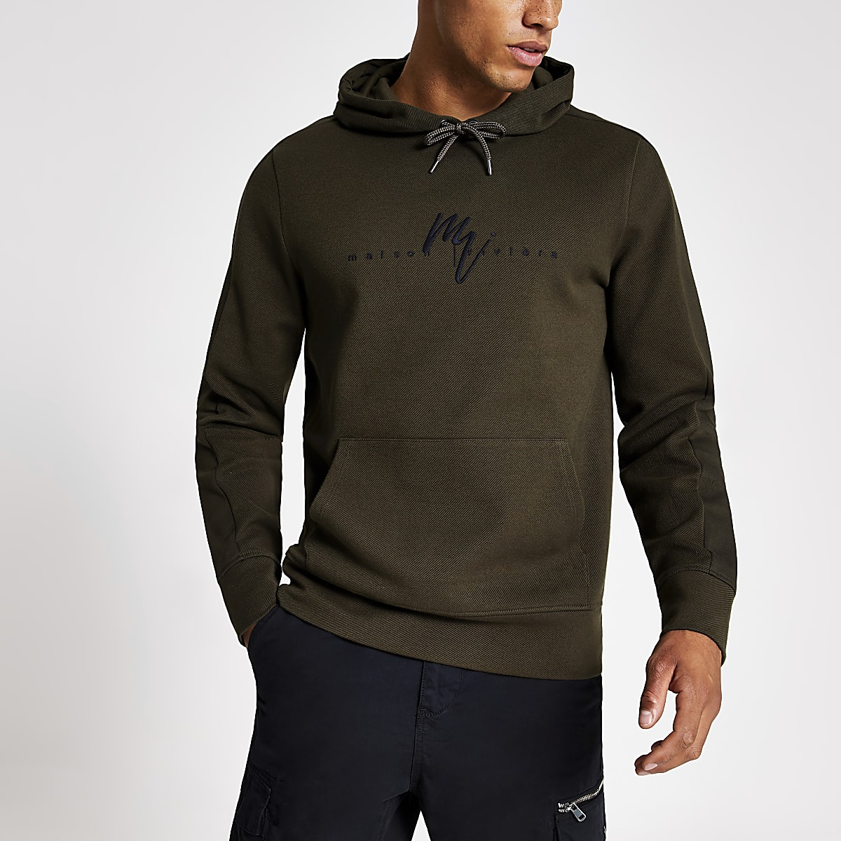 Khaki twill Maison Riviera slim fit hoodie