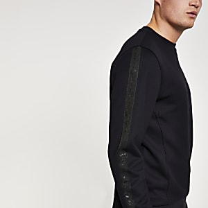 Black 'Maison Riviera' textured sweatshirt
