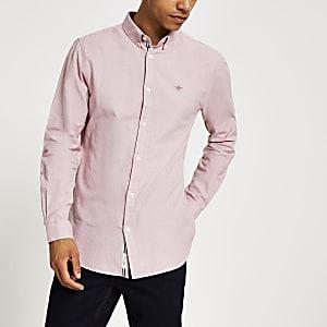 Pinkes, langärmeliges Regular Fit Oxford-Hemd