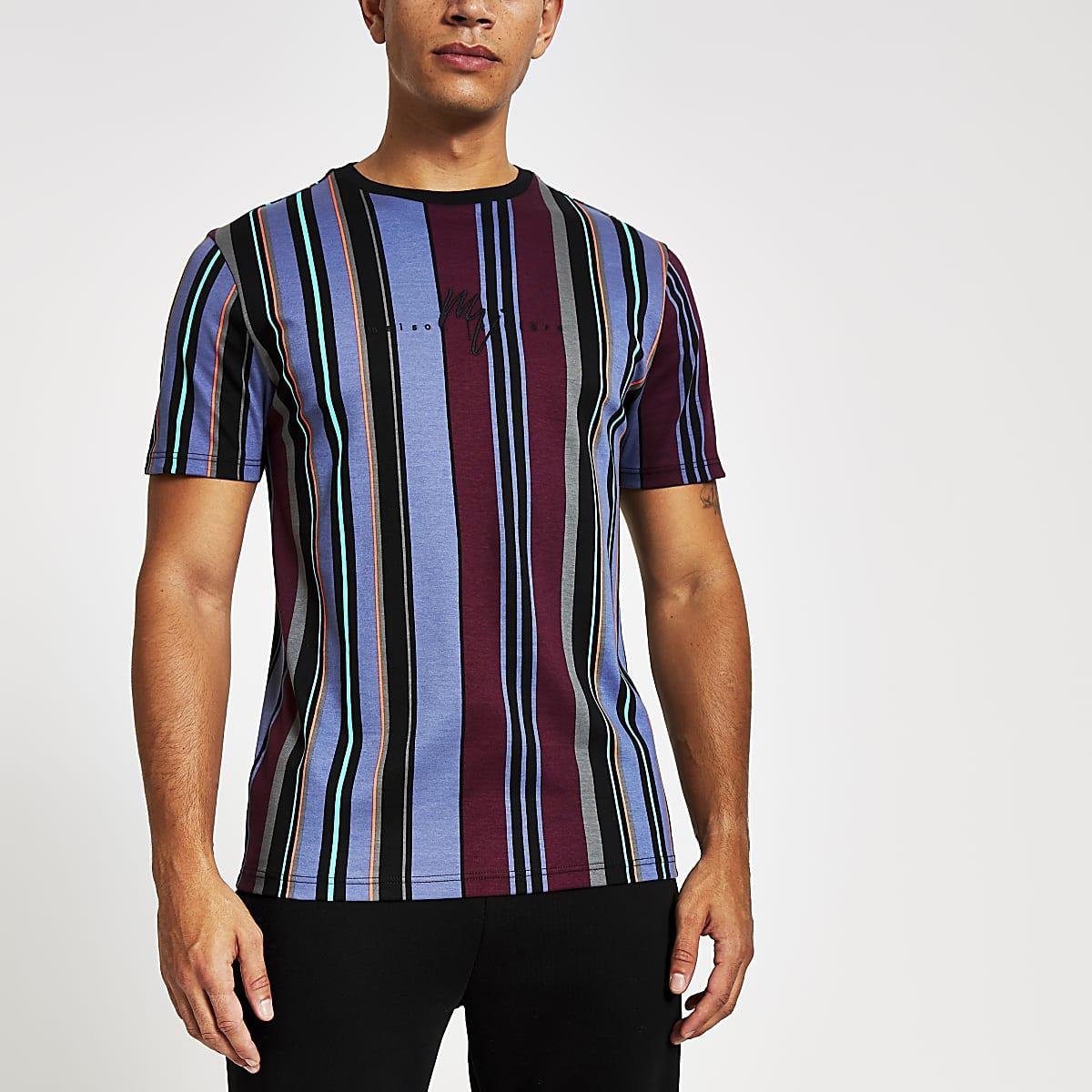 Maison Riviera - Rood gestreept slim-fit T-shirt