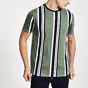 """Grünes Slim Fit T-Shirt """"Maison Riviera"""" mit Streifen"""