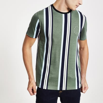 Green slim fit Maison Riviera stripe T-shirt