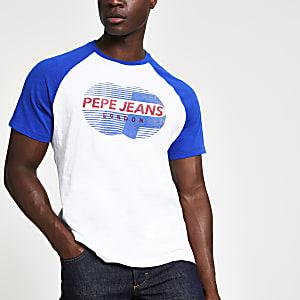 Pepe Jeans – T-shirt blanc à imprimé contrastant