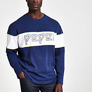 Pepe Jeans – Sweat bleu à logo