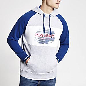 Pepe Jeans - Grijze hoodie met kleurvlakken