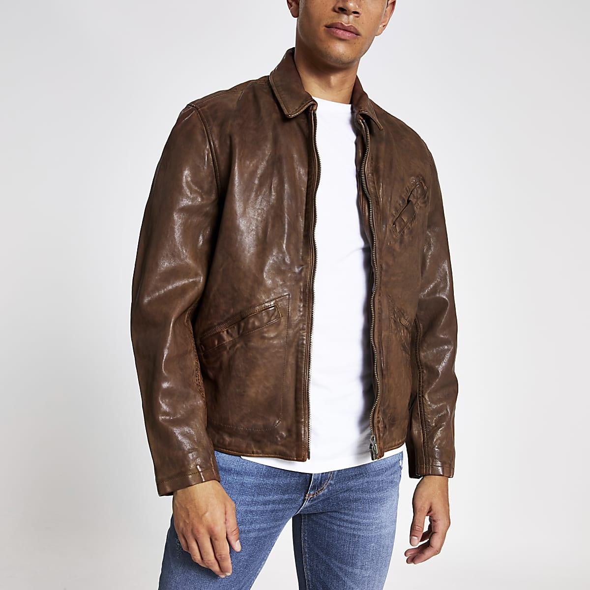 Pepe Jeans - Blouson en cuir marron