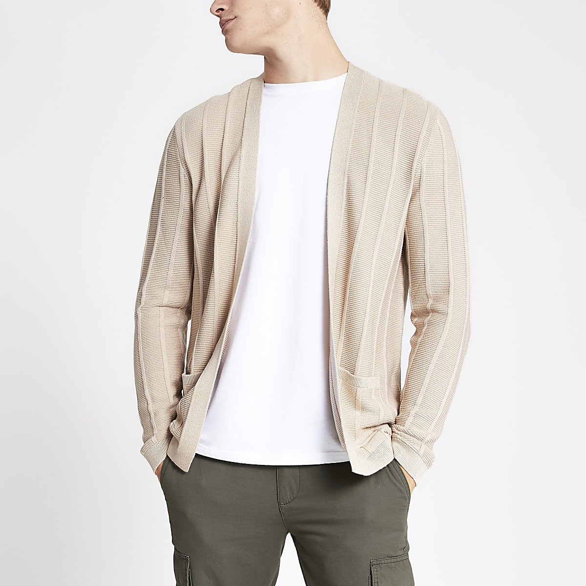 Stone slim fit ribbed knit cardigan