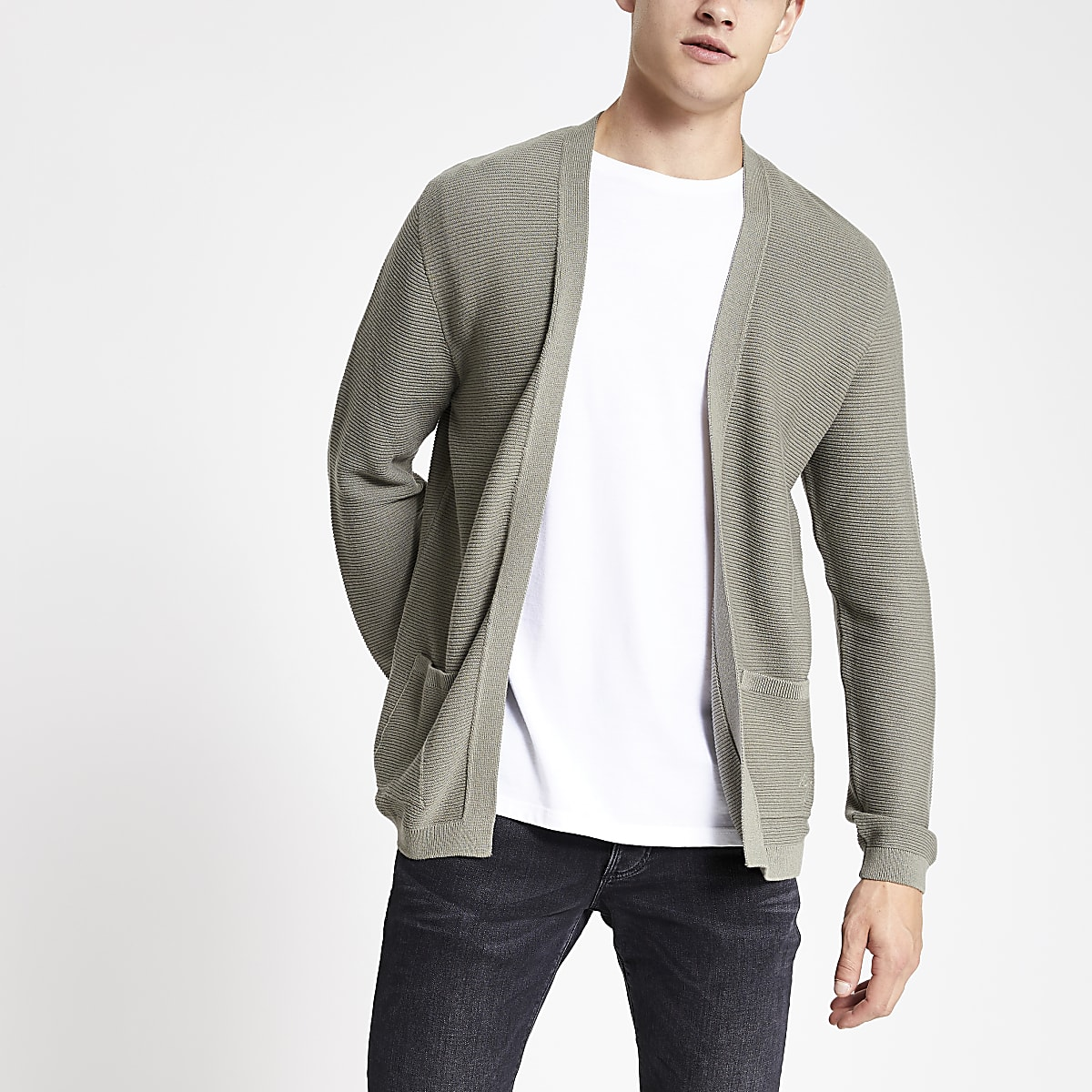Khaki slim fit textured cardigan