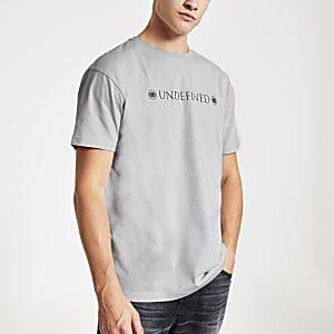 T-shirt slim gris avec imprimé au dos