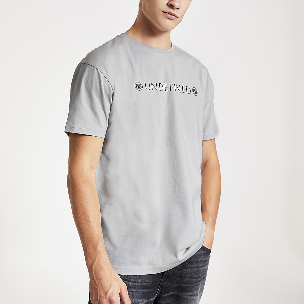 Grey back print slim fit T-shirt