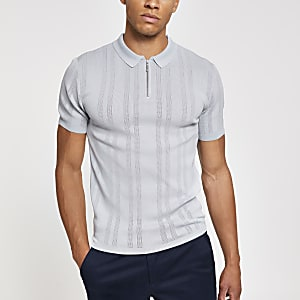Grey muscle fit textured zip neck polo shirt