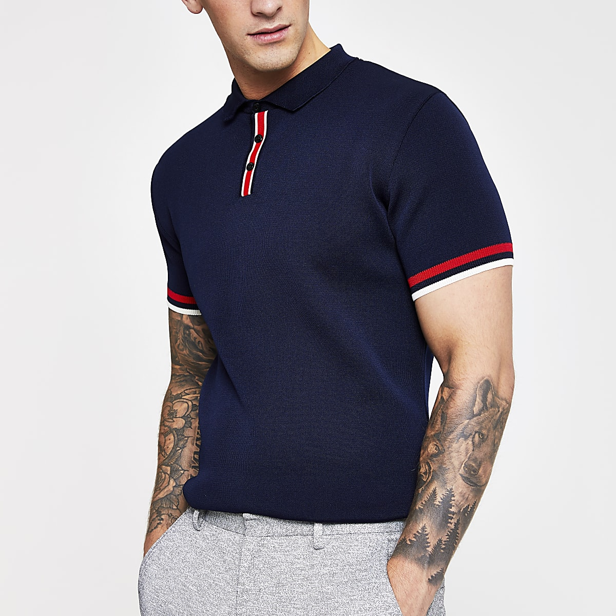 Navy slim fit knitted polo shirt
