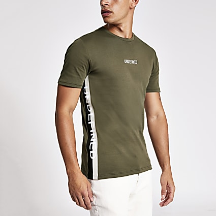 Khaki 'Undefined' tape slim fit T-shirt