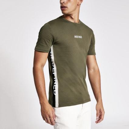 Khaki 'Undefined' tape slim fit T-shirt