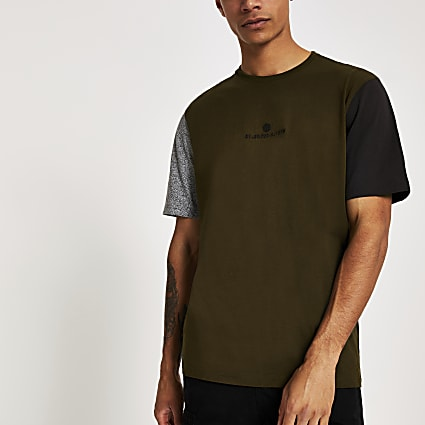 Khaki contrast short sleeve T-shirt