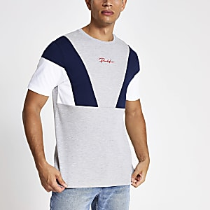 "Graues Slim Fit T-Shirt ""Profilic"" in Blockfarben"