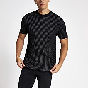 Zwart gestreept slim-fit T-shirt met korte mouwen