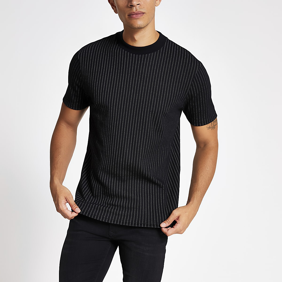 Black stripe short sleeve slim fit T-shirt