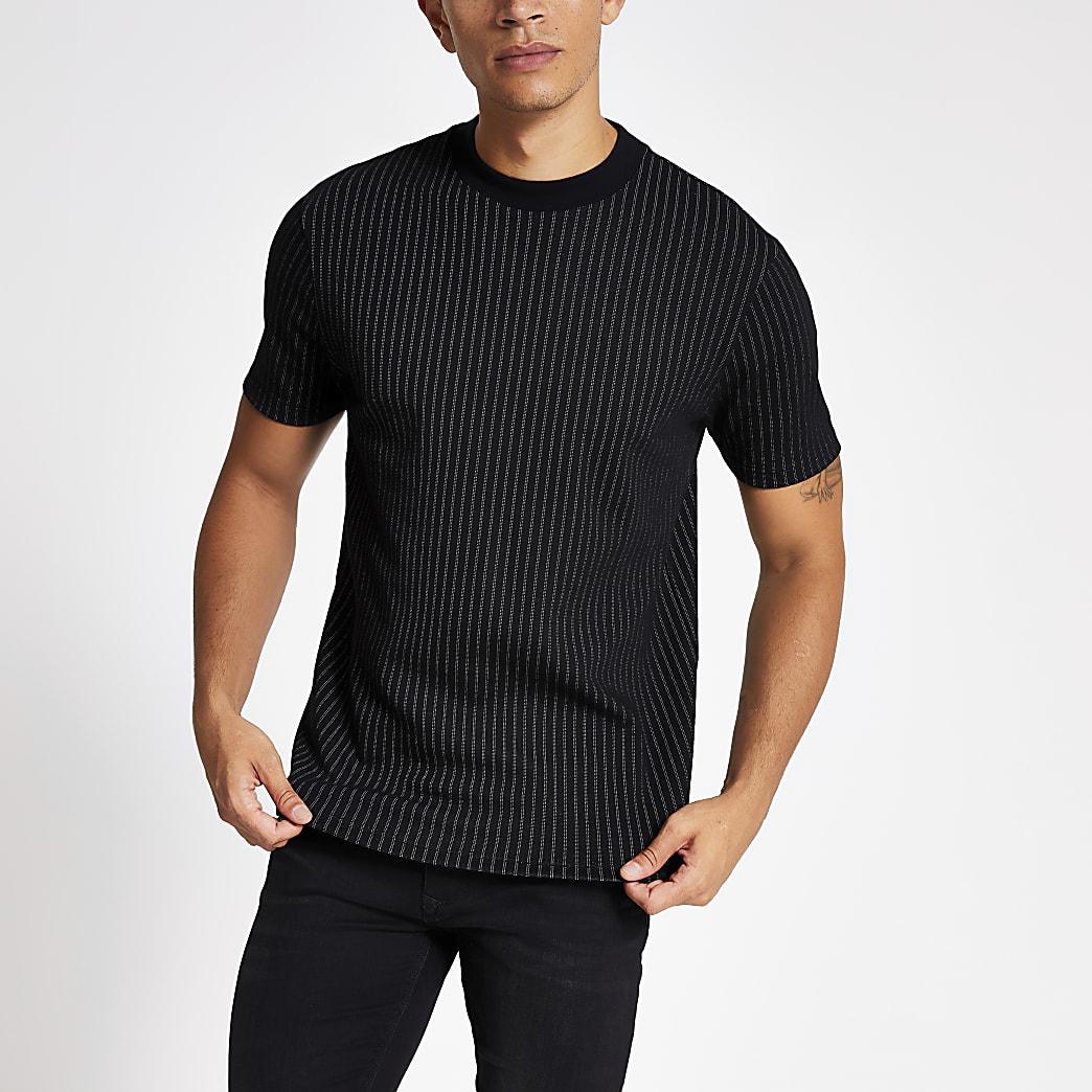 T-shirt slim noir rayé à manches courtes