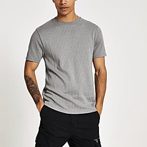 T-shirt slim rayé gris à manches courtes