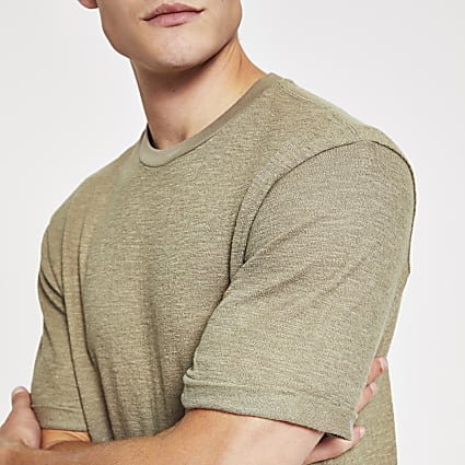 Khaki textured short sleeve slim fit T-shirt