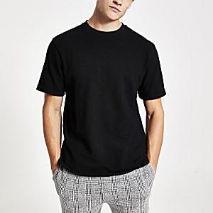 Zwart slim-fit T-shirt met textuur en korte mouwen