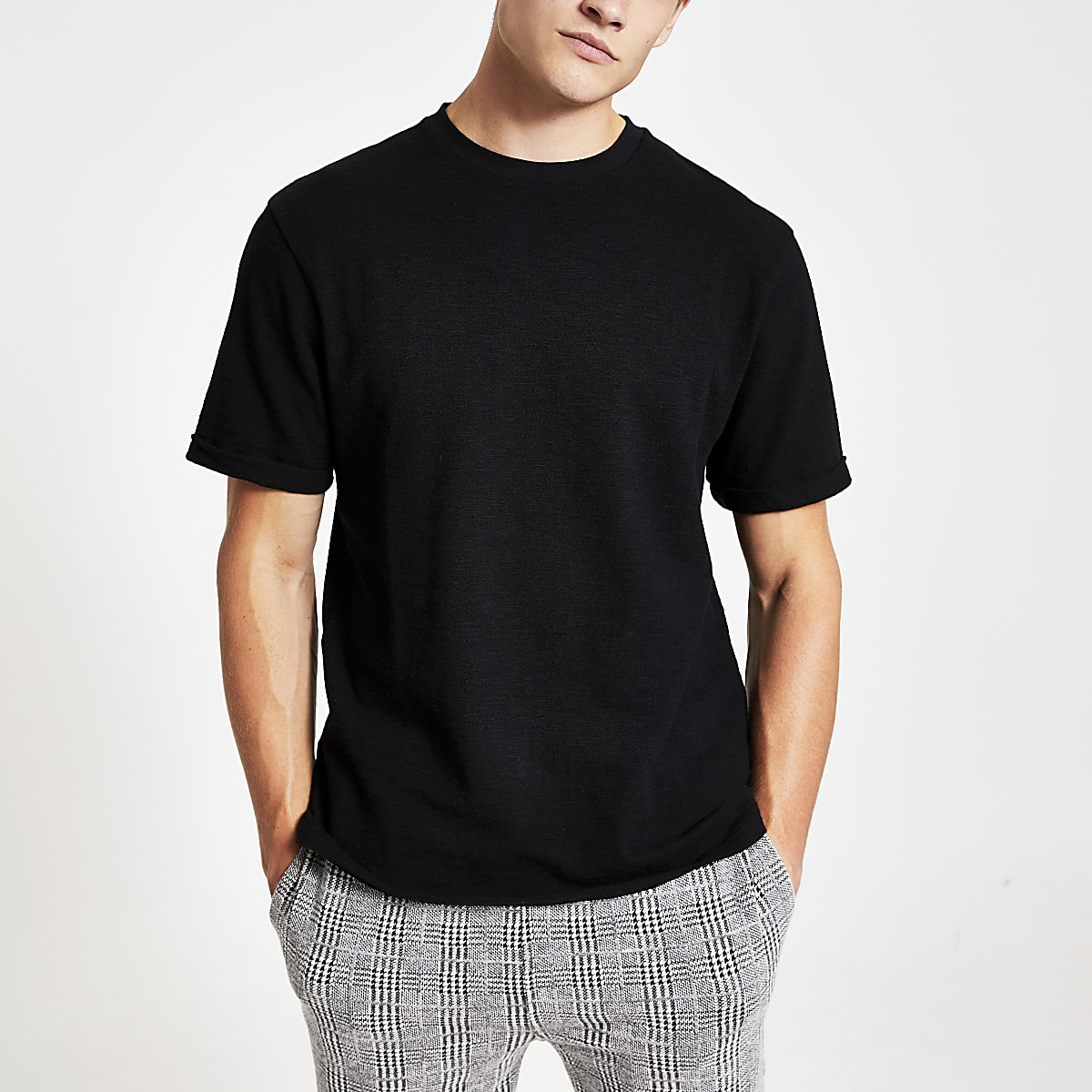 Black textured short sleeve slim fit T-shirt