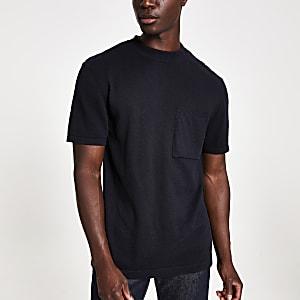 Marineblauw gebreid T-shirt normale pasvorm