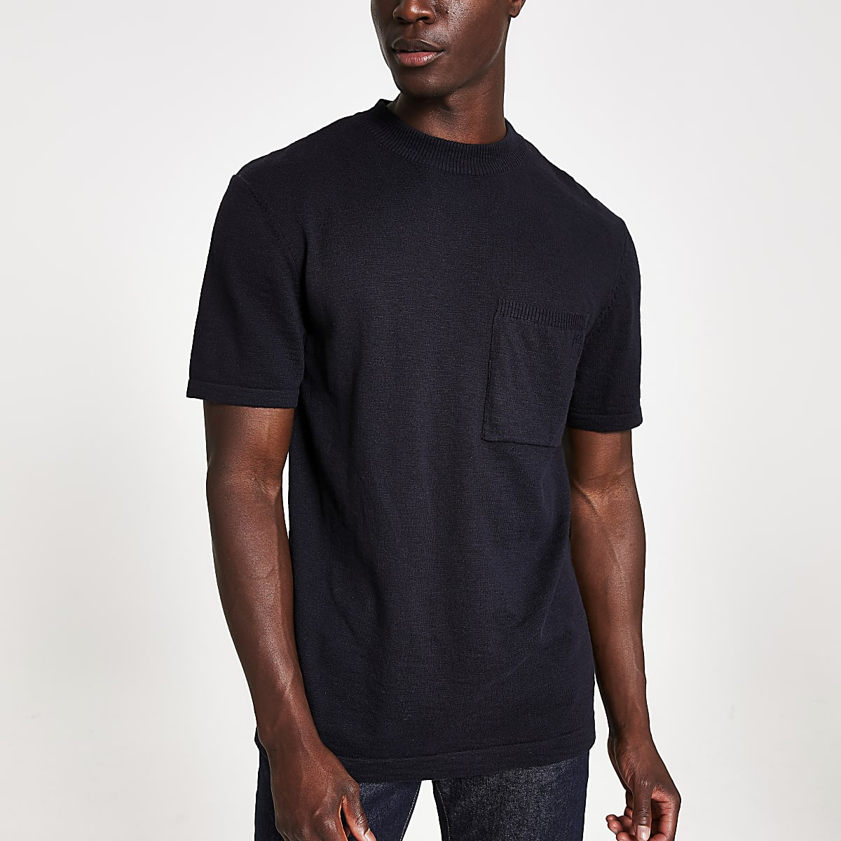Navy regular fit knitted T-shirt