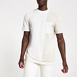 Ecru regular fit knitted T-shirt