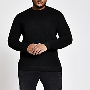 Schwarzer Pullover mit Rundhalsausschnitt in Übergrößen